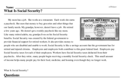 Print <i>What Is Social Security?</i> reading comprehension.