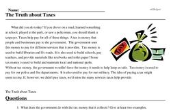 Print <i>The Truth about Taxes</i> reading comprehension.