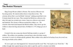 Print <i>The Boston Massacre</i> reading comprehension.