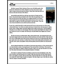 Print <i>The Zuni</i> reading comprehension.