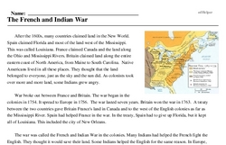Print <i>The French and Indian War</i> reading comprehension.