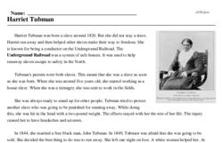 Print <i>Harriet Tubman</i> reading comprehension.