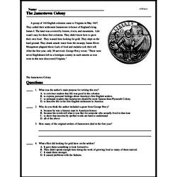 Print <i>The Jamestown Colony</i> reading comprehension.