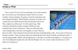 Print <i>Swim to Win!</i> reading comprehension.