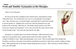 Print <i>Twist and Tumble: Gymnastics at the Olympics</i> reading comprehension.