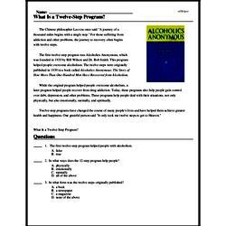 Print <i>What Is a Twelve-Step Program?</i> reading comprehension.