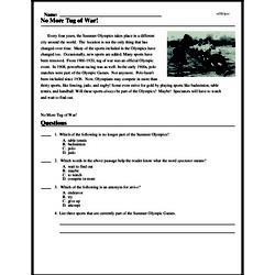 Print <i>No More Tug of War!</i> reading comprehension.