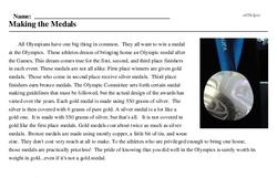 Print <i>Making the Medals</i> reading comprehension.