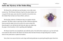 Print <i>Solve the Mystery of the Stolen Ring</i> reading comprehension.