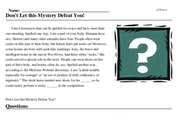 Print <i>Don't Let this Mystery Defeat You!</i> reading comprehension.