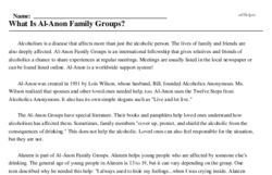 Print <i>What Is Al-Anon Family Groups?</i> reading comprehension.