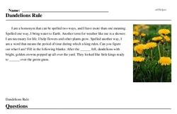 Print <i>Dandelions Rule</i> reading comprehension.