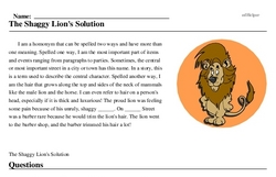 Print <i>The Shaggy Lion's Solution</i> reading comprehension.