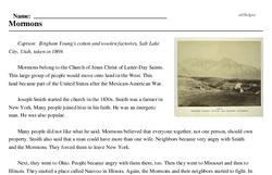 Print <i>Mormons</i> reading comprehension.