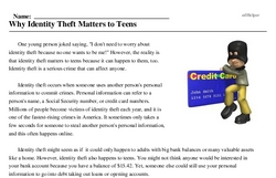 Print <i>Why Identity Theft Matters to Teens</i> reading comprehension.
