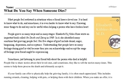 Print <i>What Do You Say When Someone Dies?</i> reading comprehension.