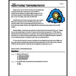 Print <i>Summer Learning: Understanding Sunscreen</i> reading comprehension.