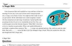 Print <i>A Magic Ride</i> reading comprehension.
