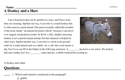 Print <i>A Donkey and a Hare</i> reading comprehension.