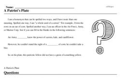 Print <i>A Patriot's Plate</i> reading comprehension.