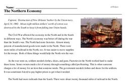 Print <i>The Northern Economy</i> reading comprehension.