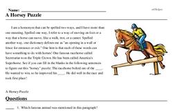 Print <i>A Horsey Puzzle</i> reading comprehension.