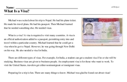 Print <i>What Is a Visa?</i> reading comprehension.