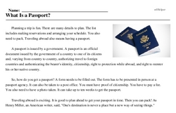 Print <i>What Is a Passport?</i> reading comprehension.