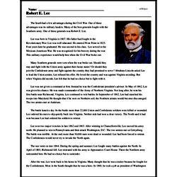 Print <i>Robert E. Lee</i> reading comprehension.