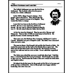 Print <i>Red River Resistance and Louis Riel</i> reading comprehension.