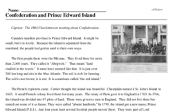 Print <i>Confederation and Prince Edward Island</i> reading comprehension.