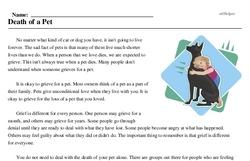 Print <i>Death of a Pet</i> reading comprehension.