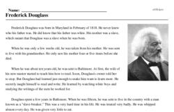 Print <i>Frederick Douglass</i> reading comprehension.