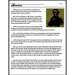 Print <i>Jefferson Davis</i> reading comprehension.
