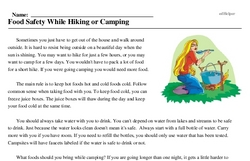 Print <i>Food Safety While Hiking or Camping</i> reading comprehension.
