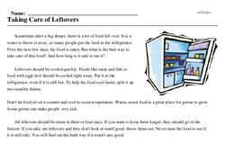 Print <i>Taking Care of Leftovers</i> reading comprehension.