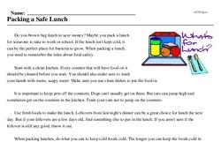 Print <i>Packing a Safe Lunch</i> reading comprehension.