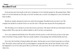 Print <i>Recalled Food</i> reading comprehension.