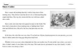 Print <i>Slave Codes</i> reading comprehension.