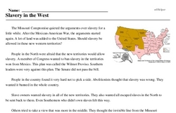Print <i>Slavery in the West</i> reading comprehension.