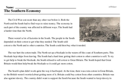 Print <i>The Southern Economy</i> reading comprehension.