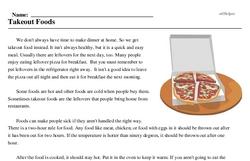 Print <i>Takeout Foods</i> reading comprehension.