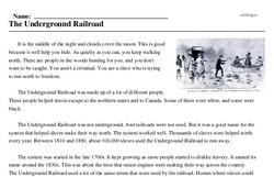 Print <i>The Underground Railroad</i> reading comprehension.