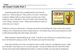 Print <i>All About Credit, Part 1</i> reading comprehension.