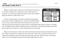 Print <i>All About Credit, Part 2</i> reading comprehension.