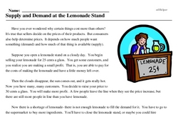 Print <i>Supply and Demand at the Lemonade Stand</i> reading comprehension.