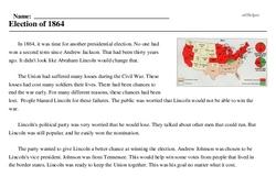 Print <i>Election of 1864</i> reading comprehension.