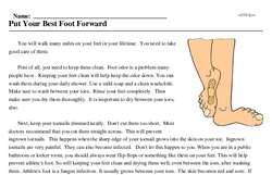 Print <i>Put Your Best Foot Forward</i> reading comprehension.