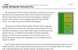 Print <i>Earth During the Mesozoic Era</i> reading comprehension.