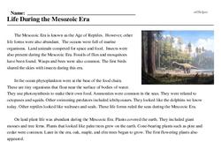 Print <i>Life During the Mesozoic Era</i> reading comprehension.